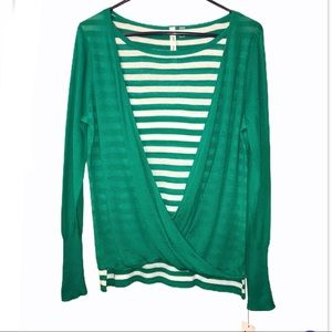 NEW NY Collection Striped Surplice Sweater - Sz M